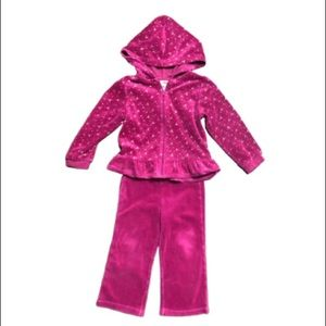 Magenta Velour Zip Up Warm Up Suit by Healthtex